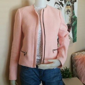 Zara Woman Blush Tweed Zip Blazer Medium